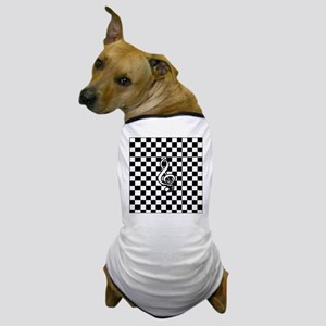 Treble Clef on check Dog T-Shirt