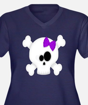 Skull with P Women's Plus Size V-Neck Dark T-Shirt