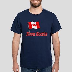 Canada Flag - Nova Scotia Text Dark T-Shirt