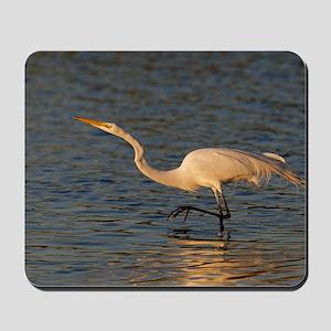 great white egret Mousepad