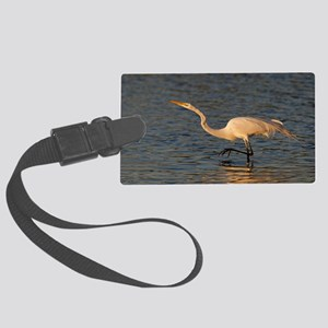 great white egret Large Luggage Tag