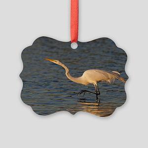 great white egret Picture Ornament