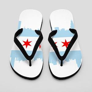Chicago Flag Skyline Flip Flops