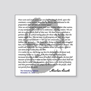 "Gettysburg Address Square Sticker 3"" x 3"""