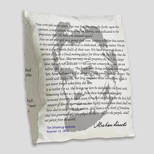 Gettysburg Address Burlap Throw Pillow
