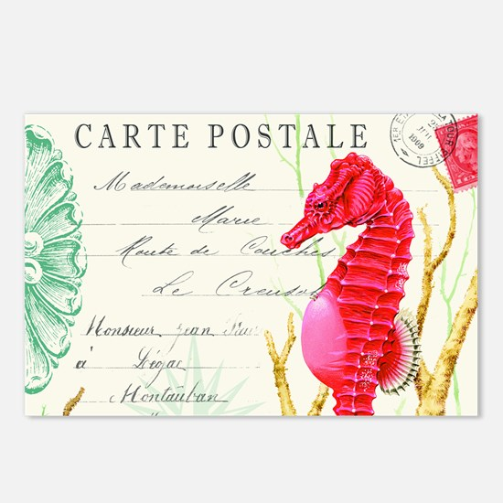 Modern vintage seahorse Postcards (Package of 8)