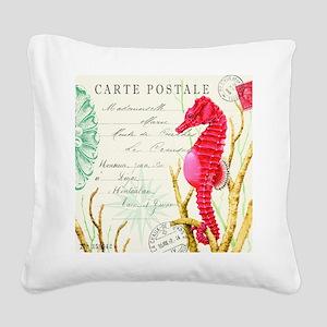 Modern vintage seahorse Square Canvas Pillow