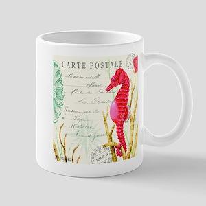 Modern vintage seahorse Mugs