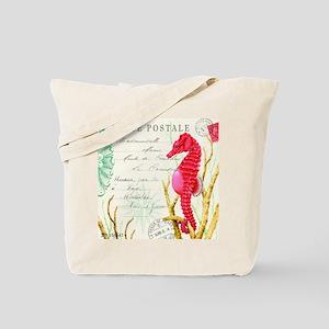 Modern vintage seahorse Tote Bag