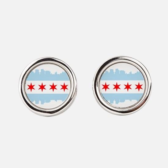 Chicago Flag Skyline Round Cufflinks