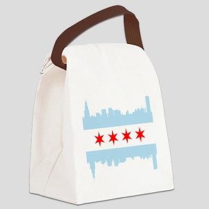 Chicago Flag Skyline Canvas Lunch Bag