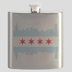 Chicago Flag Skyline Flask