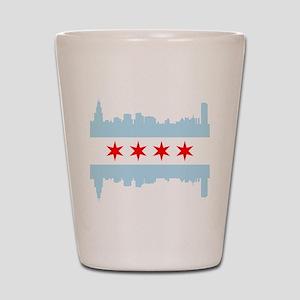 Chicago Flag Skyline Shot Glass