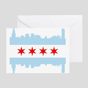 Chicago Flag Skyline Greeting Cards