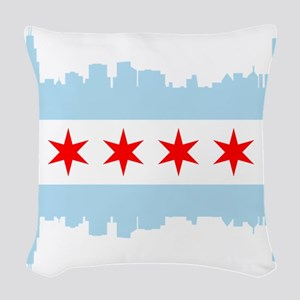 Chicago Flag Skyline Woven Throw Pillow