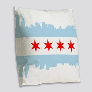 Chicago Flag Skyline Burlap Throw Pillow