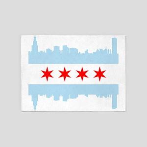 Chicago Flag Skyline 5'x7'Area Rug