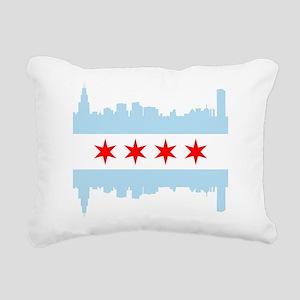 Chicago Flag Skyline Rectangular Canvas Pillow