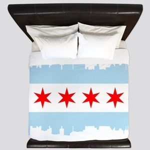 Chicago Flag Skyline King Duvet