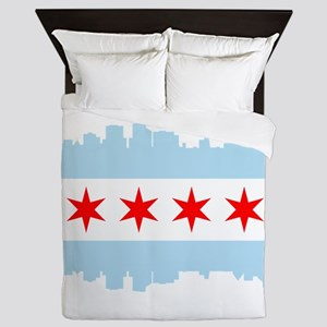 Chicago Flag Skyline Queen Duvet