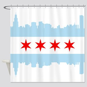 Chicago Flag Skyline Shower Curtain