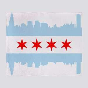 Chicago Flag Skyline Throw Blanket