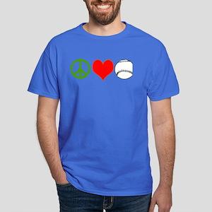 PEACE LOVE BASEBALL Dark T-Shirt