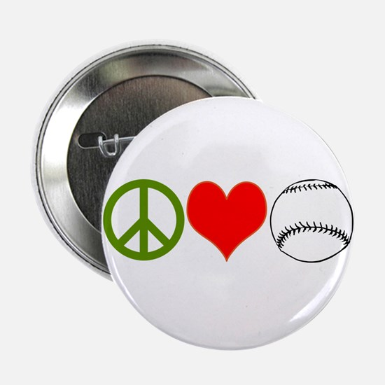 "PEACE LOVE BASEBALL 2.25"" Button"