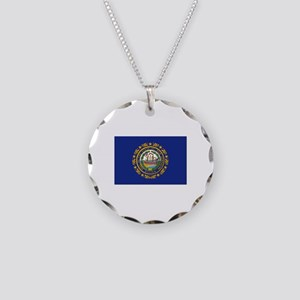 New Hampshire Flag Necklace Circle Charm