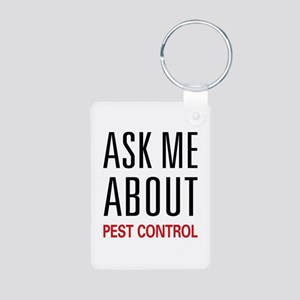 Ask Me About Pest Control Aluminum Photo Keychain