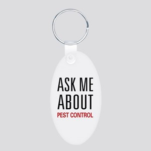Ask Me About Pest Control Aluminum Oval Keychain