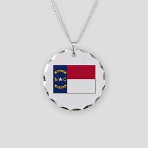 North Carolina Flag Necklace Circle Charm
