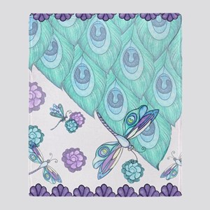 Teal Peacock Feather Design Throw Blanket