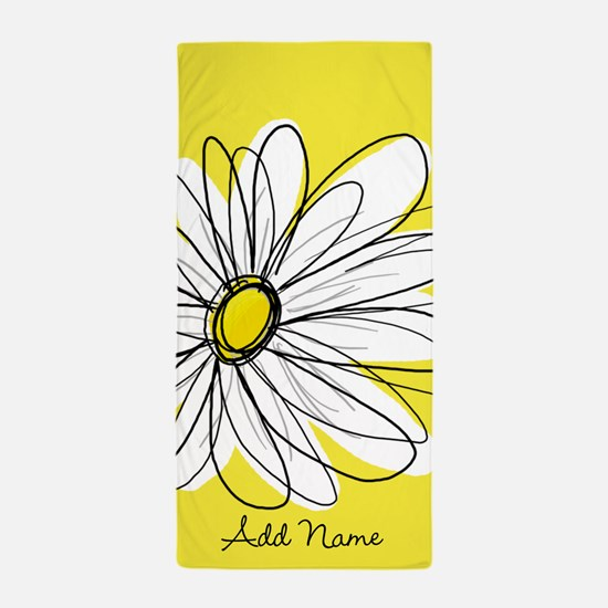 Whimsical Daisy - yellow Beach Towel