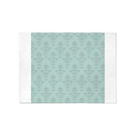 Tiffany Blue Aqua Flourish Damask 5 X7 Area Rug By