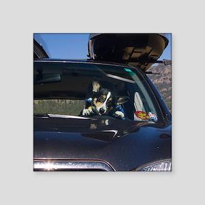 """Funny Corgi Driving Square Sticker 3"""" x 3"""""""