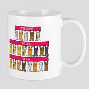 Welcome to our team cartoon cats. Mugs