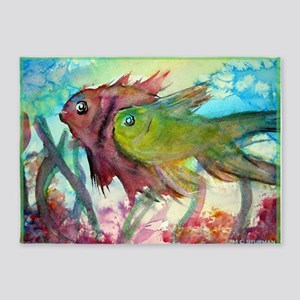 Tropical fish! Colorful art! 5'x7'Area Rug