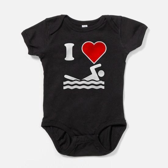 I Heart Swimming Baby Bodysuit