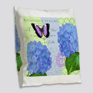 MODERN VINTAGE hydrangea Burlap Throw Pillow