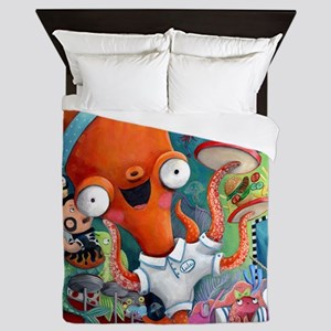 Underwater bar and Octopus Waitress Queen Duvet