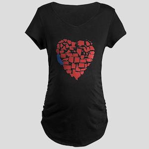 California Heart Maternity Dark T-Shirt