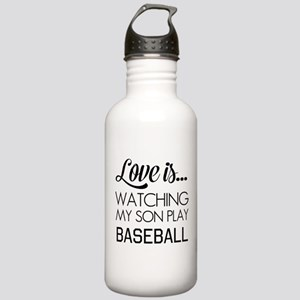 Love is watching my son play baseball Water Bottle