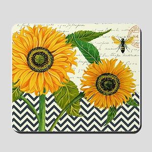 modern vintage sunflower Mousepad