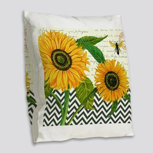modern vintage sunflower Burlap Throw Pillow