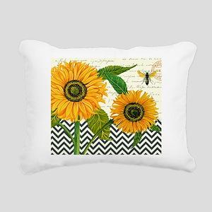 modern vintage sunflower Rectangular Canvas Pillow