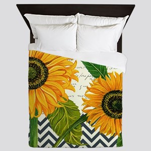 modern vintage sunflower Queen Duvet
