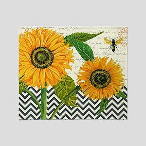 modern vintage sunflower Throw Blanket