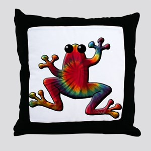 Tie Dye Frog Throw Pillow