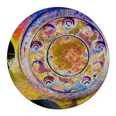 Rust Wheel Round Car Magnet
